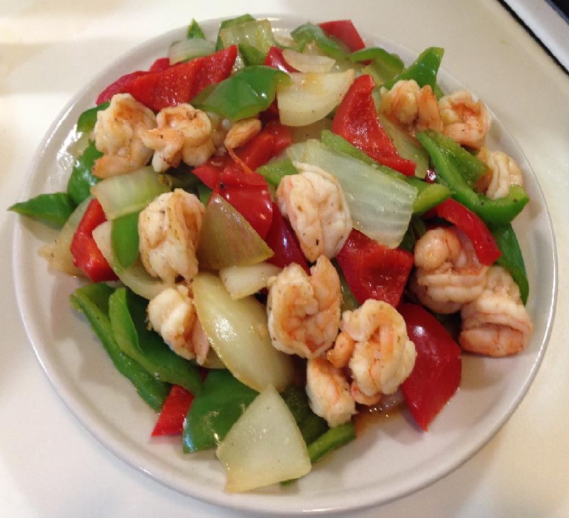 August recipe#1 甜椒燴蝦仁